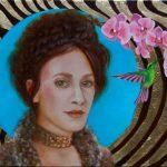 Der Kolibri-Öl und Schlagmetall auf Leinwand-Anja Brinkmann
