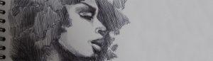 Zeichnungen-Kugelschreiber-Erikah Badu-Anja Brinkmann