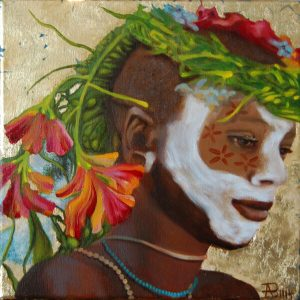 Kinderportrait-Tribes-Omo-Öl auf Leinwand-Anja Brinkmann