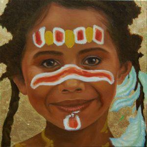 Kinderportrait-Tribes-Australien-Öl auf Leinwand-Anja Brinkmann