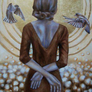 Leichtigkeit des Seins, Gold, Öl auf Leinwand, Grisaille, Anja Brinkmann