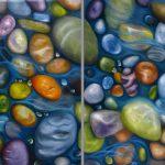 Malerei-Steine im Wasser I 2016-Öl auf Leinwand-Anja Brinkmann