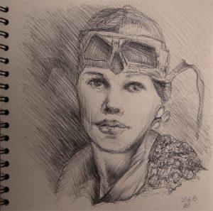 Amelia Earhart-Zeichnung-Kugelschreiber-Anja Brinkmann