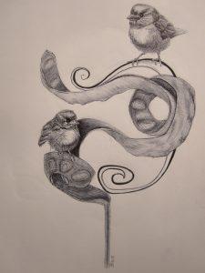 Sparrows-Zeichnung-Kugelschreiber-Anja Brinkmann