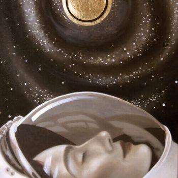 inner astronaut, Weltraum, Gold, Galaxie, Malerei, Grisaille, Anja Brinkmann