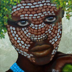 Kinderportrait-Tribes/ Omo-Öl auf Leinwand-Anja Brinkmann