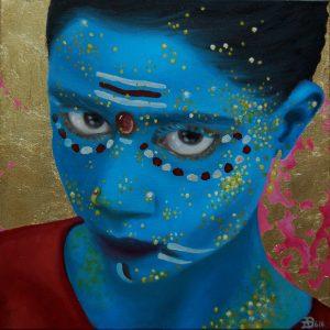 Kinderportrait-Tribes-Indien -Öl auf Leinwand-Anja Brinkmann