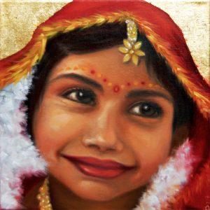 Kinderportrait-Tribes-Indien-Öl auf Leinwand-Anja Brinkmann