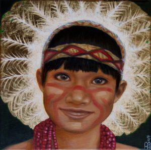 Kinderportrait-Tribes-Brasilien-Öl auf Leinwand-Anja Brinkmann