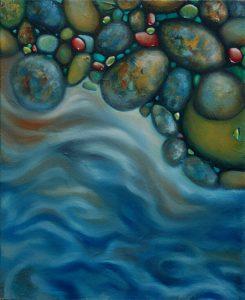 Malerei-Steine im Wasser 2006-Öl auf Leinwand-Anja Brinkmann