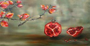 Malerei-Stilleben mit Granatäpfeln-Öl auf Leinwand-Anja Brinkmann