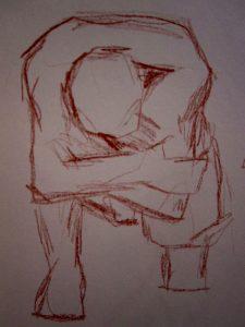 Akt eines Mannes-Zeichnung-Anja Brinkmann