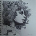 Erykah Badu-Zeichnung-Kugelschreiber-Anja Brinkmann