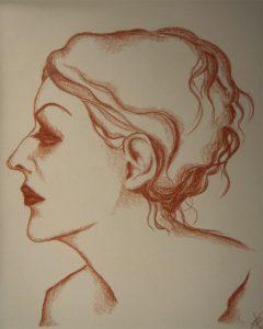 Anais Nin-Zeichnung-Rötel-Anja Brinkmann