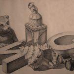 Stilleben mit Opernglas-Zeichnung-Anja Brinkmann