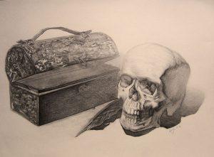 Stilleben mit Totenkopf-Zeichnung-Anja Brinkmann