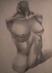 Weiblicher Torso-Zeichnung-Anja Brinkmann