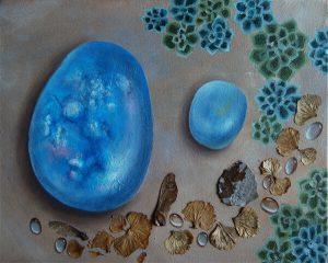 Steine-Malerei-winter leaves III-Anja Brinkmann